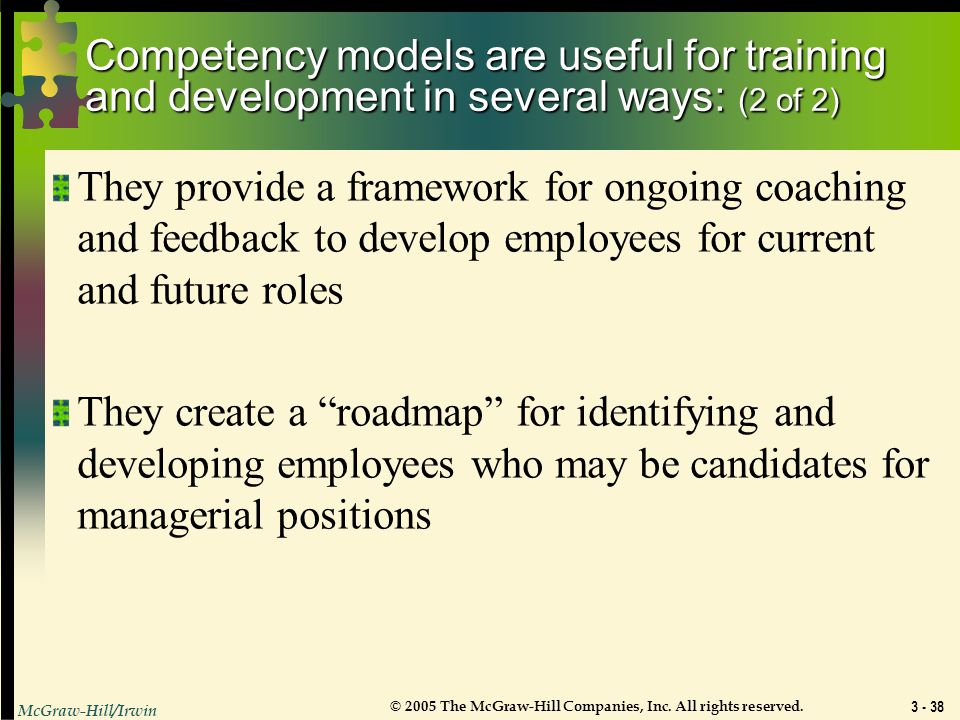 Competency models are useful for training and development in several ways: (2 of 2)