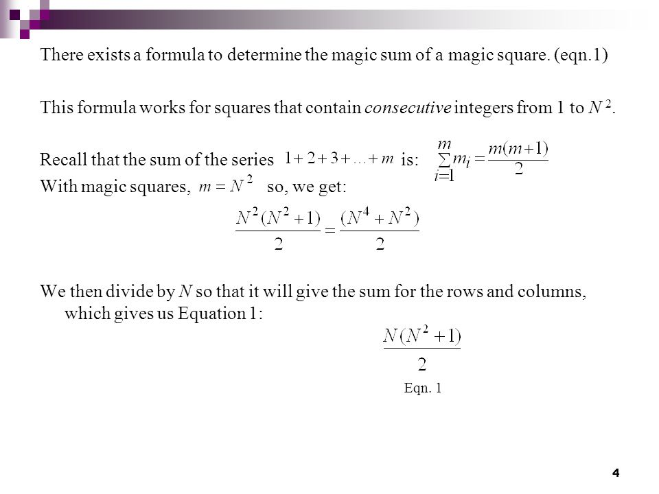 Magic Square Formula
