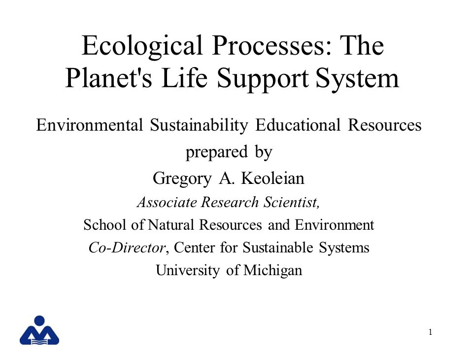 Ecological Processes: The Planet s Life Support System