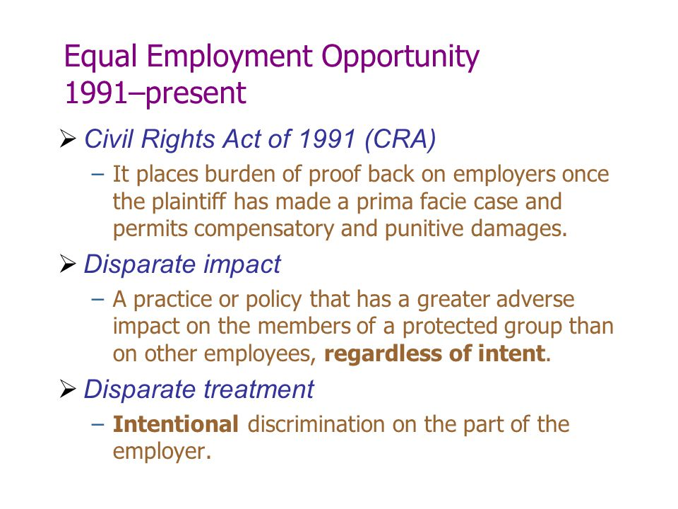Equal Employment Opportunity 1991–present