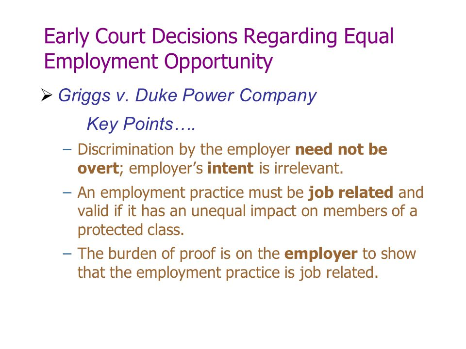 Early Court Decisions Regarding Equal Employment Opportunity