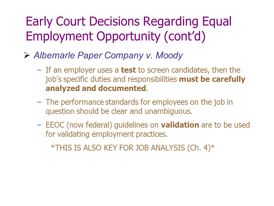 Early Court Decisions Regarding Equal Employment Opportunity (cont'd)
