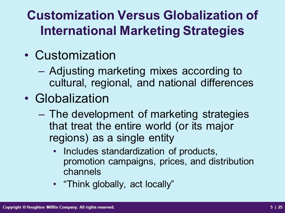 Customization Versus Globalization of International Marketing Strategies