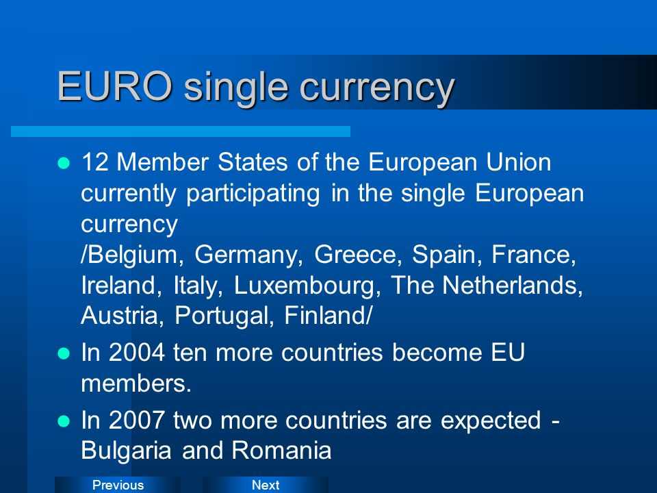 EURO single currency