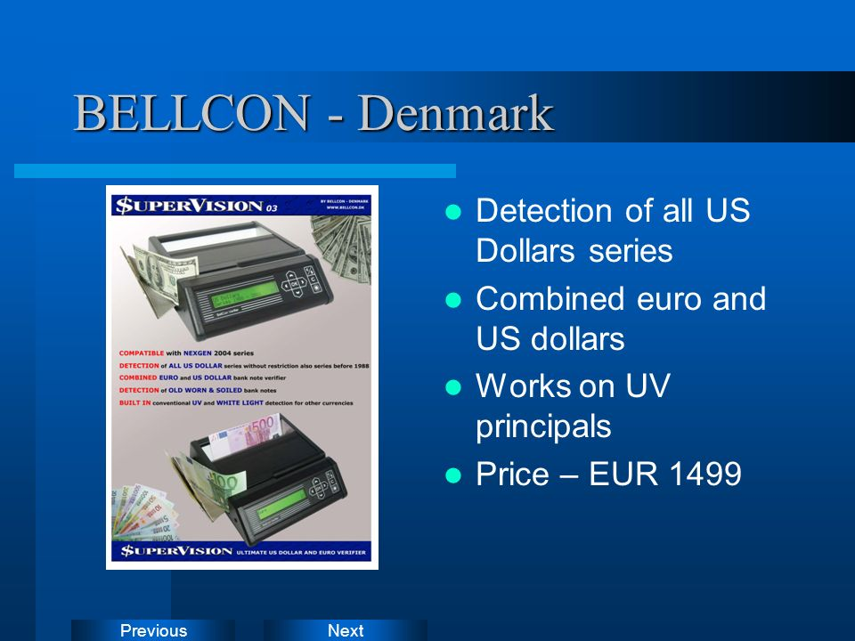 BELLCON - Denmark Detection of all US Dollars series