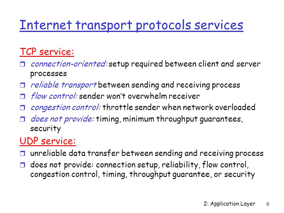 Internet transport protocols services
