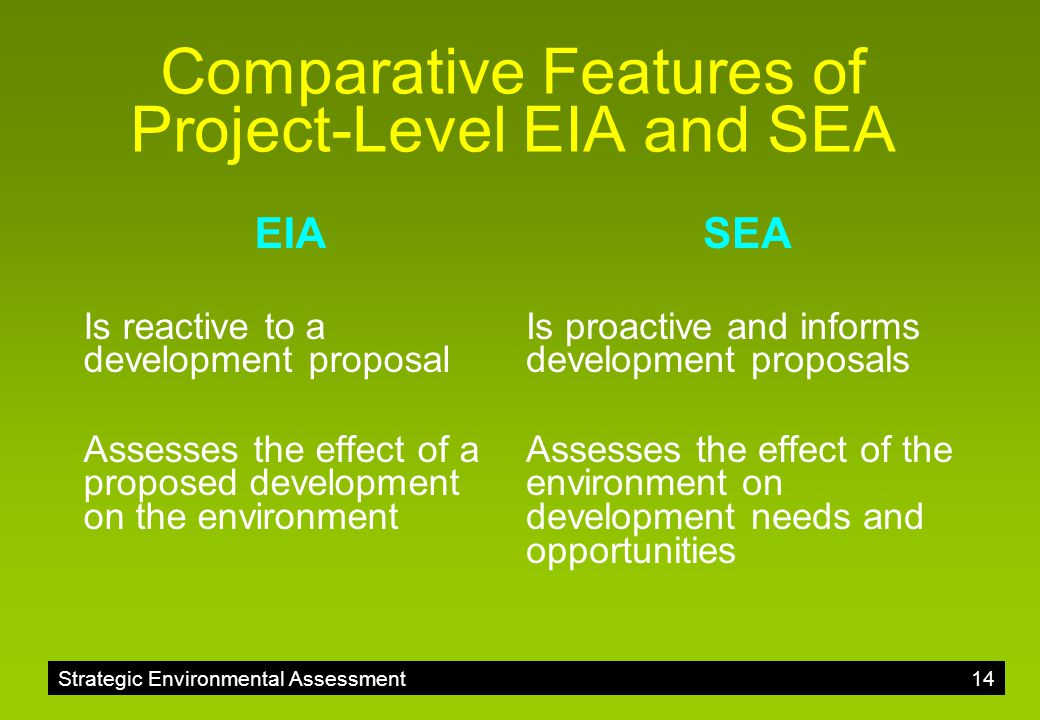 Comparative Features of Project-Level EIA and SEA