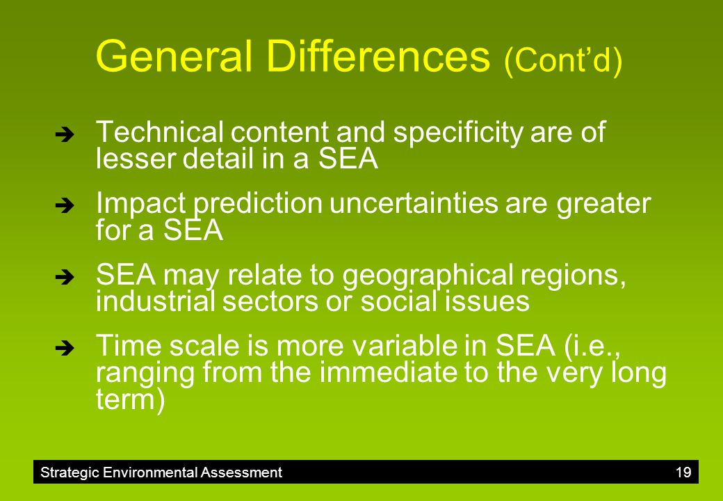 General Differences (Cont'd)