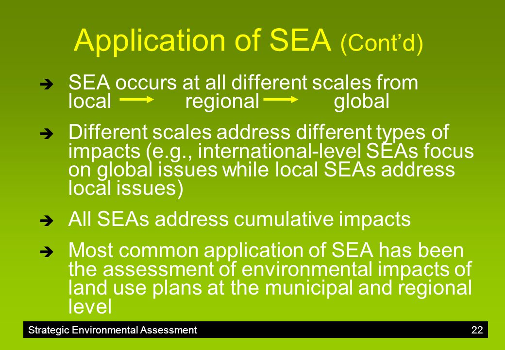 Application of SEA (Cont'd)