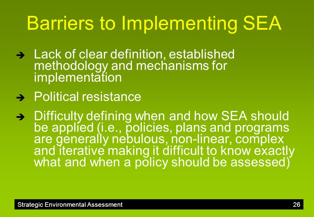 Barriers to Implementing SEA