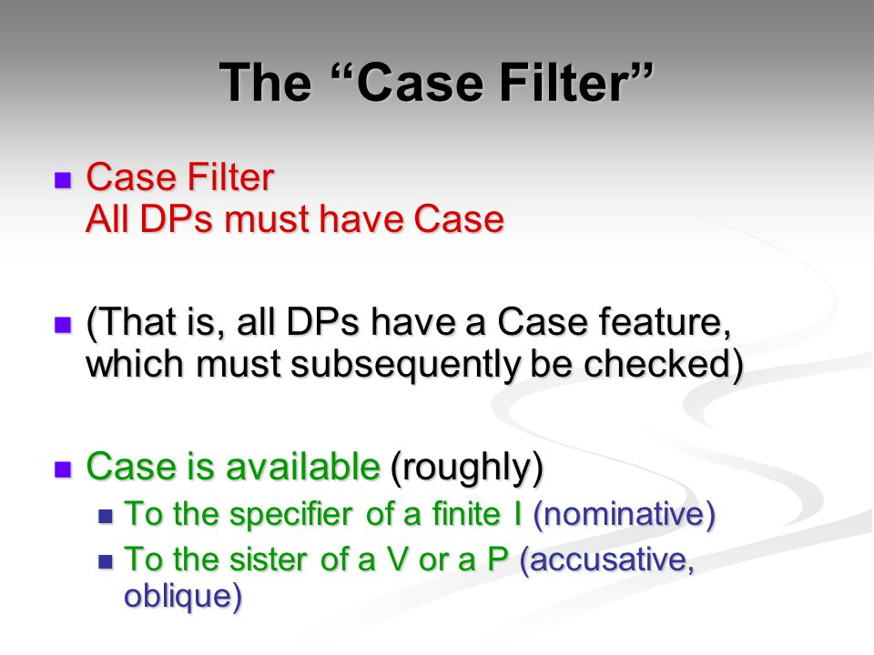 The Case Filter Case Filter All DPs must have Case