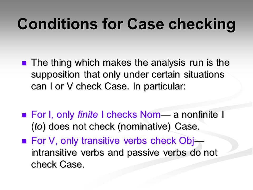 Conditions for Case checking