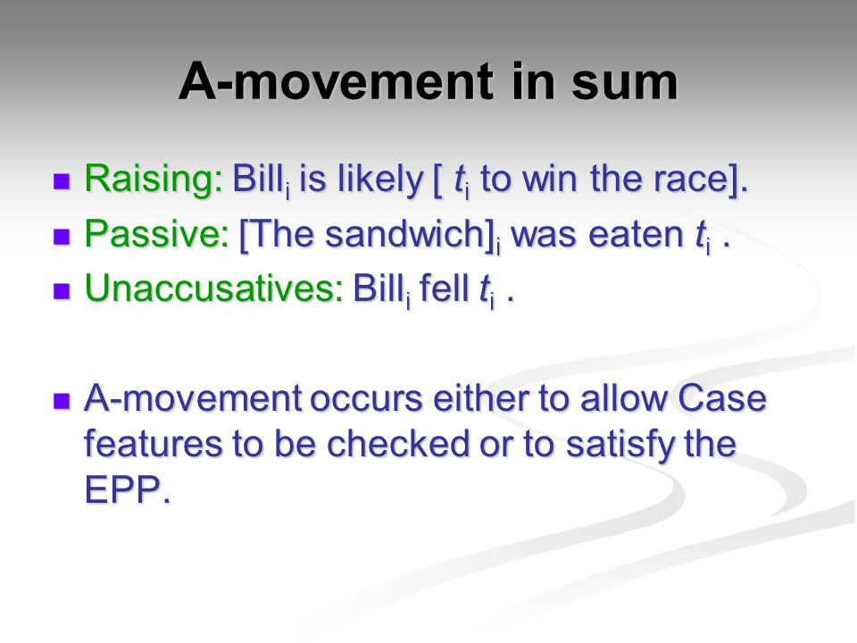 A-movement in sum Raising: Billi is likely [ ti to win the race].