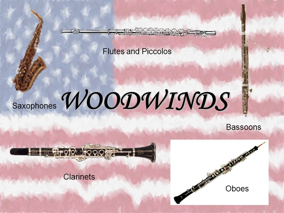 Flutes and Piccolos WOODWINDS Saxophones Bassoons Clarinets Oboes
