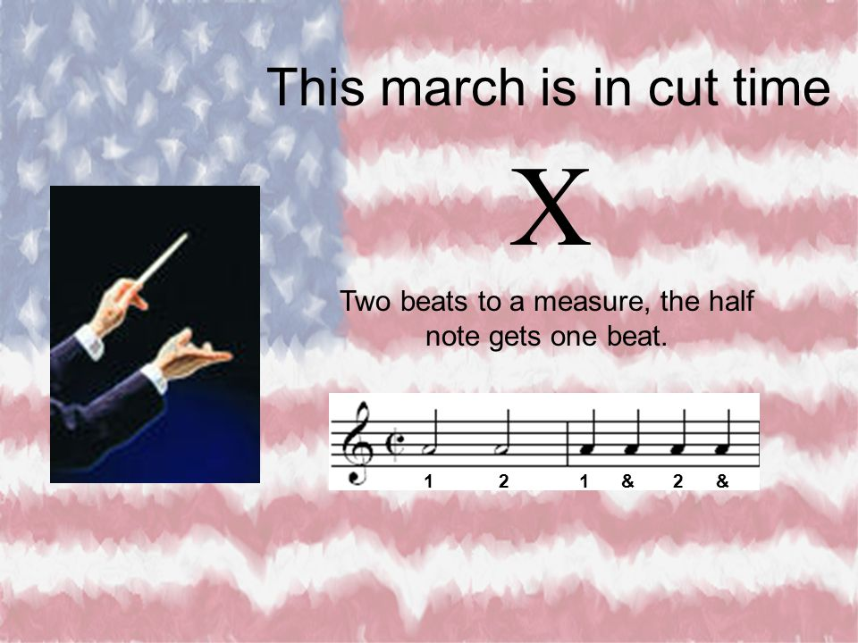 Two beats to a measure, the half note gets one beat.