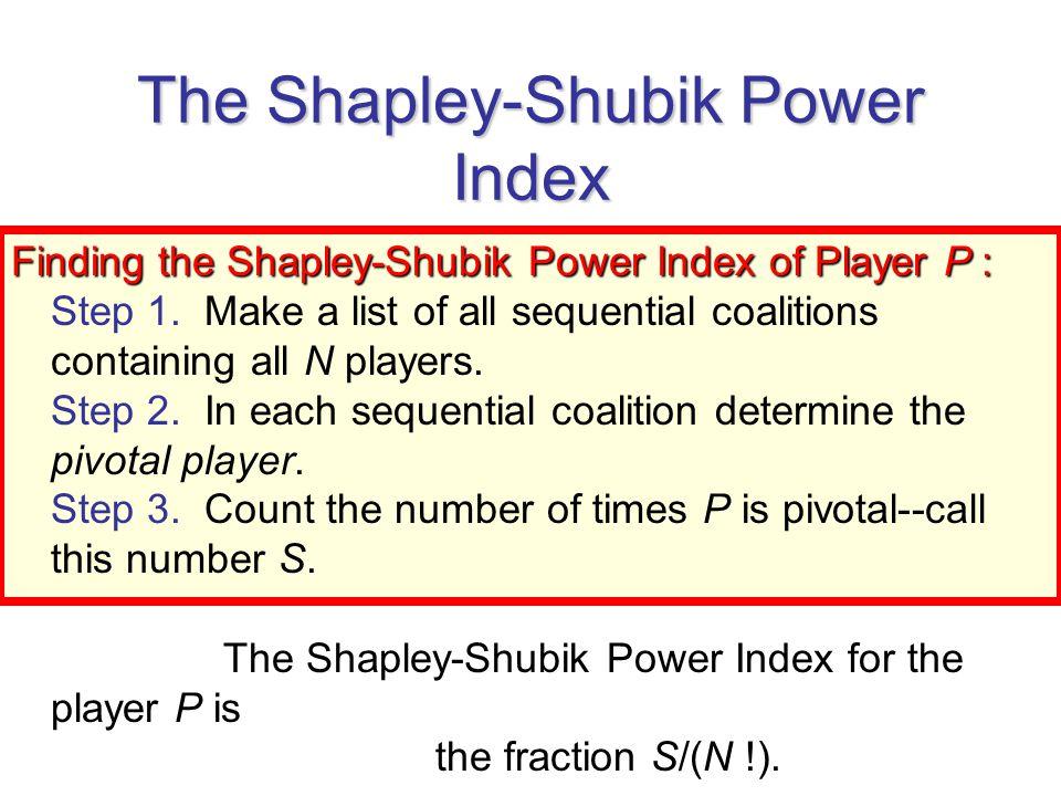 The Shapley-Shubik Power Index - ppt video online download