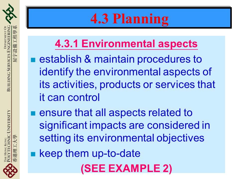 4.3.1 Environmental aspects