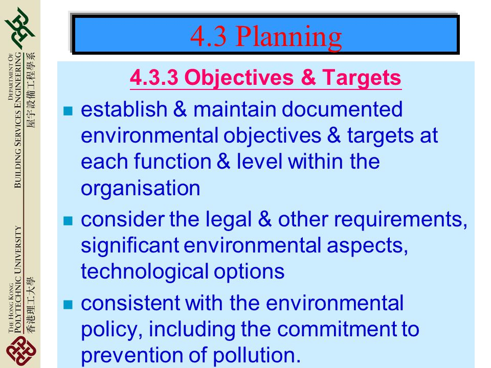 4.3 Planning Objectives & Targets