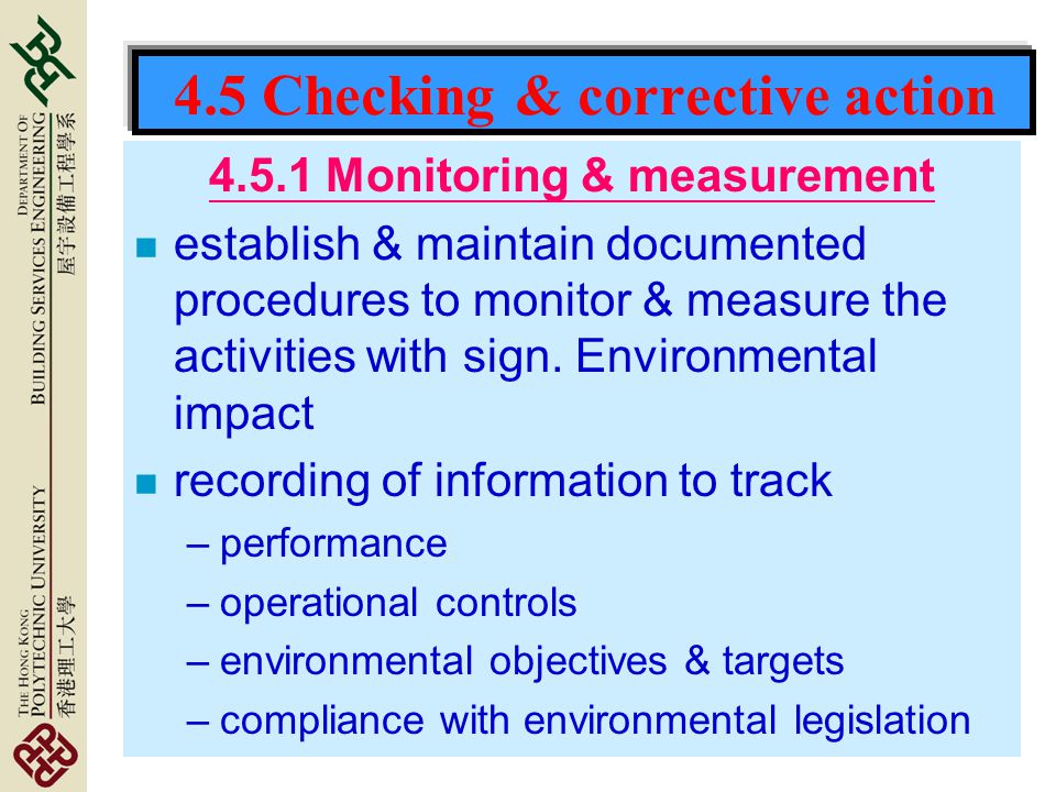 4.5 Checking & corrective action