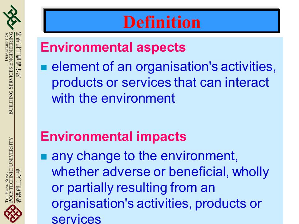 Definition Environmental aspects