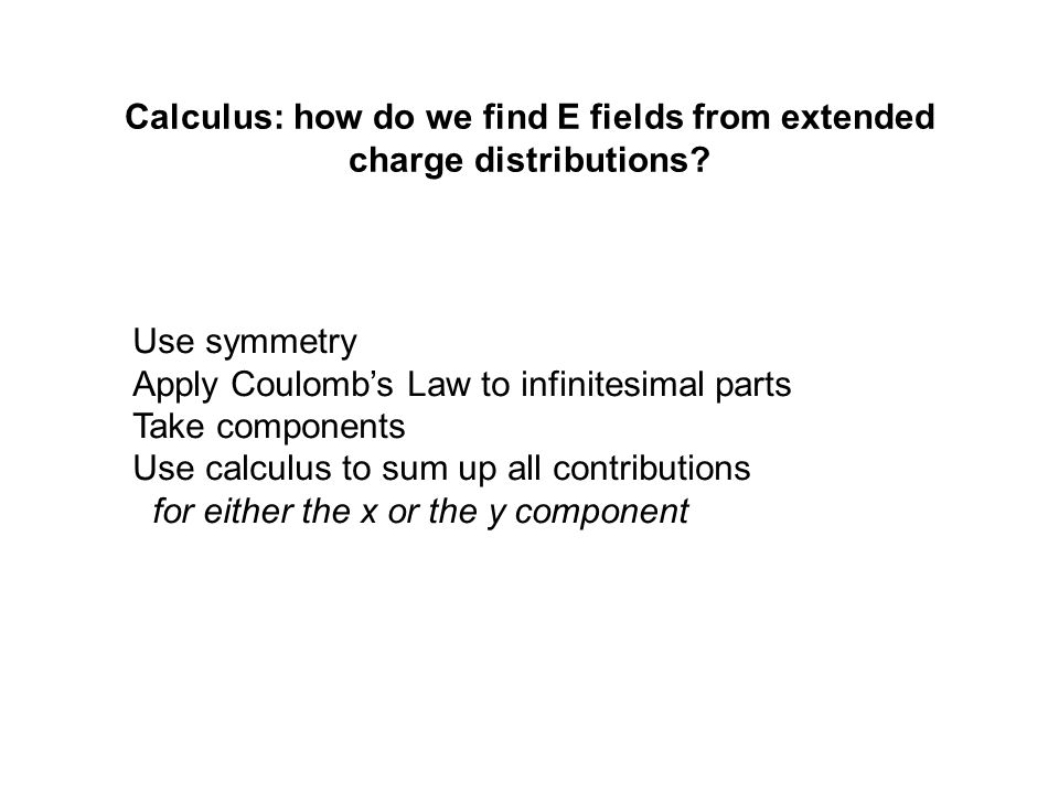 Calculus: how do we find E fields from extended charge distributions