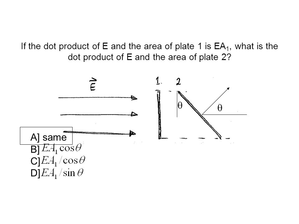 If the dot product of E and the area of plate 1 is EA1, what is the dot product of E and the area of plate 2
