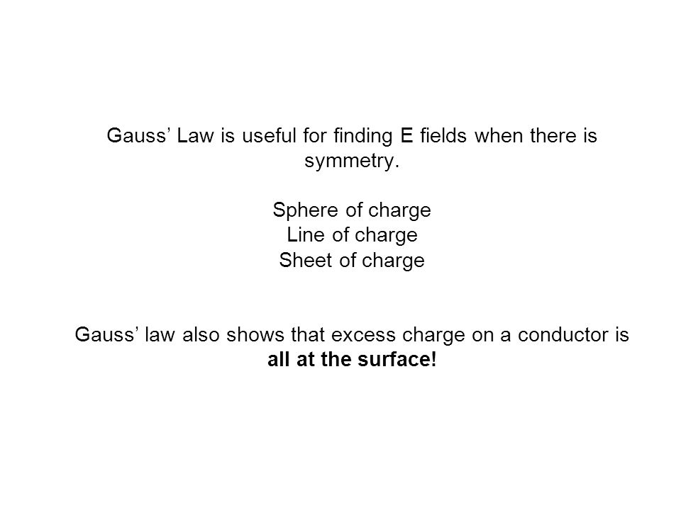 Gauss' Law is useful for finding E fields when there is symmetry