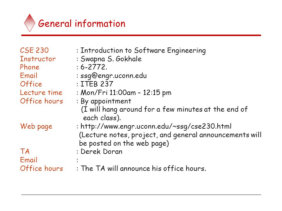 General Information Cse 230 Introduction To Software Engineering Ppt Download