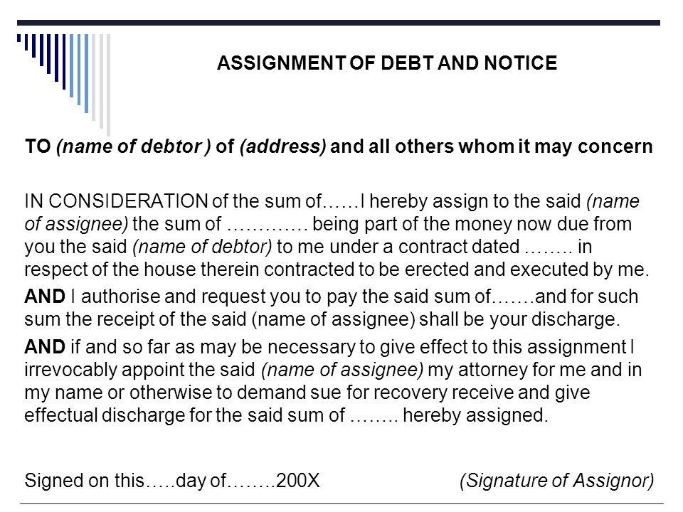 notice of assignment of debt
