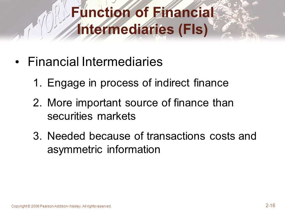 Function of Financial Intermediaries (FIs)