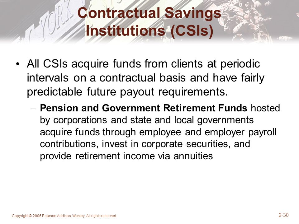 Contractual Savings Institutions (CSIs)