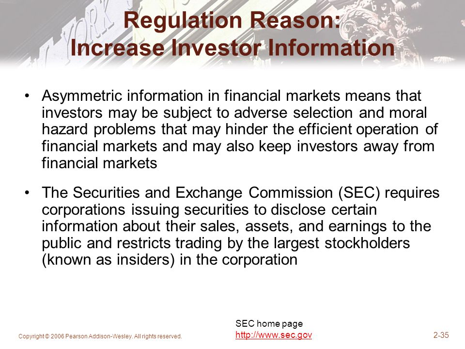 Regulation Reason: Increase Investor Information