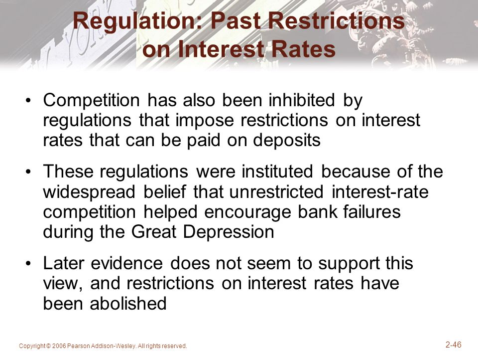 Regulation: Past Restrictions on Interest Rates