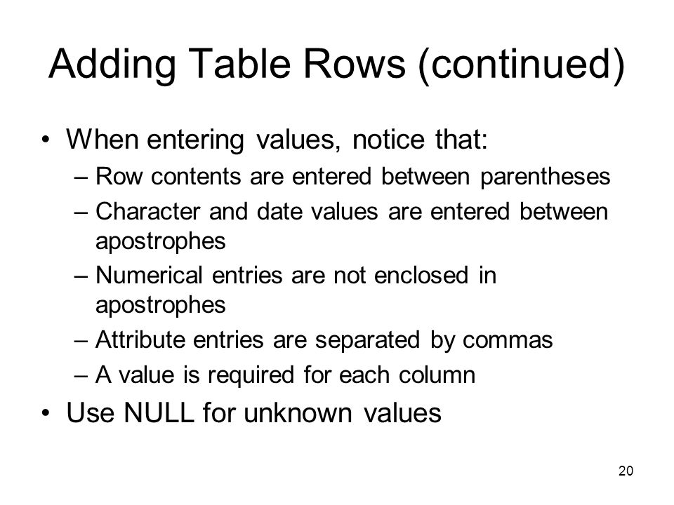 Adding Table Rows (continued)