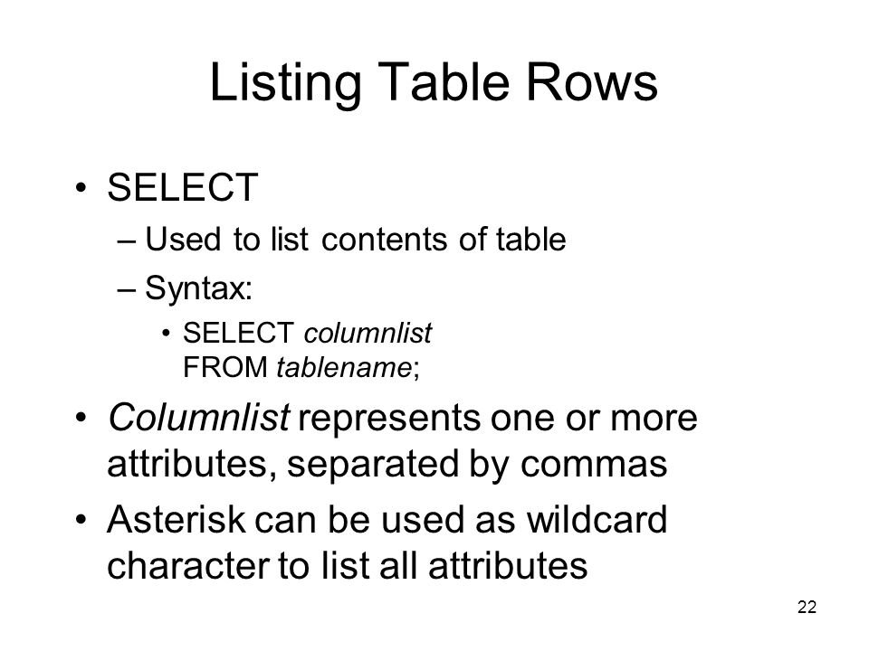 Listing Table Rows SELECT