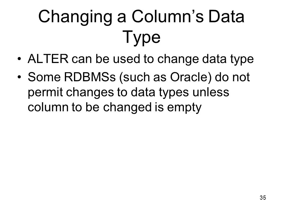 Changing a Column's Data Type