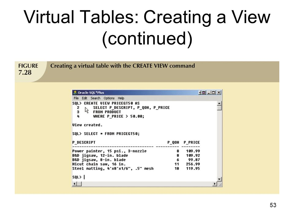 Virtual Tables: Creating a View (continued)