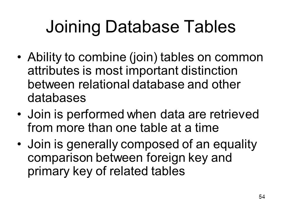 Joining Database Tables