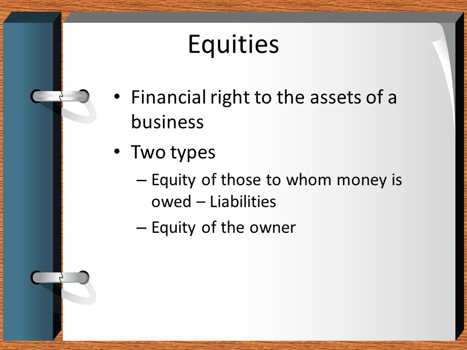 Equities Financial right to the assets of a business Two types