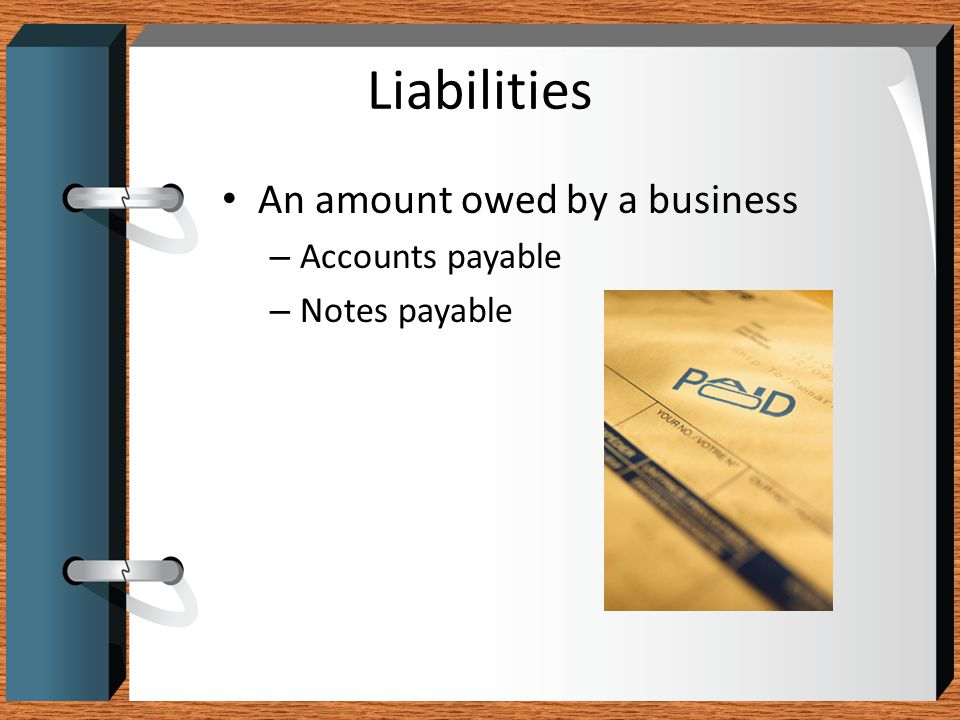 Liabilities An amount owed by a business Accounts payable