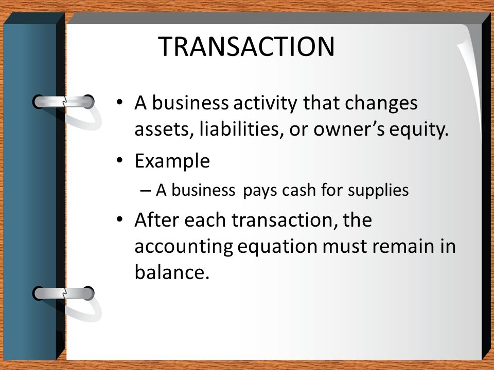 TRANSACTION A business activity that changes assets, liabilities, or owner's equity. Example. A business pays cash for supplies.