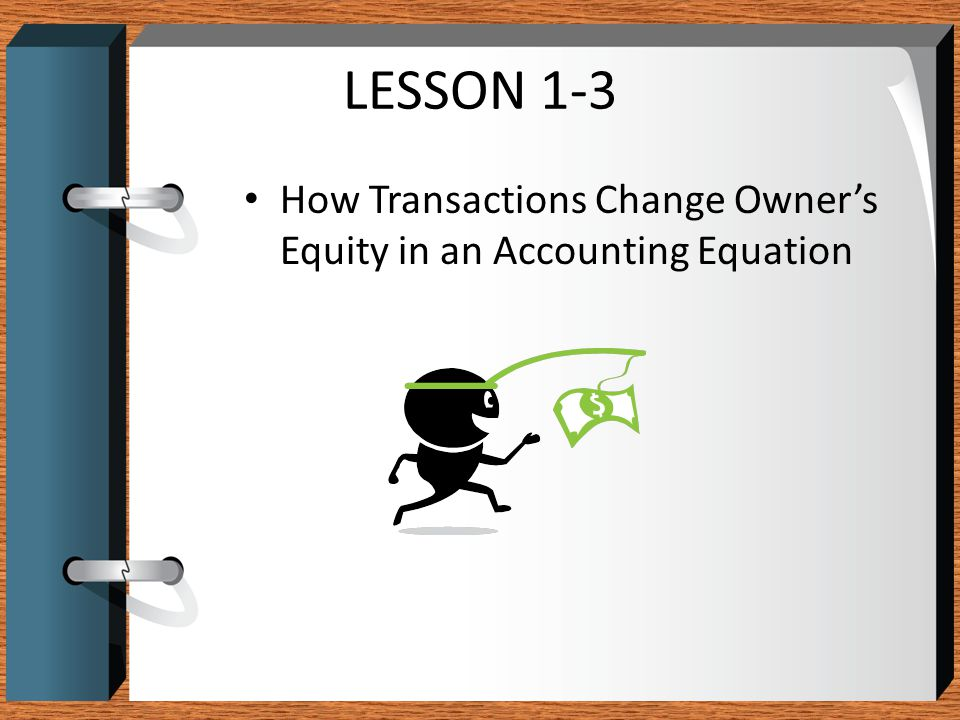 LESSON 1-3 How Transactions Change Owner's Equity in an Accounting Equation