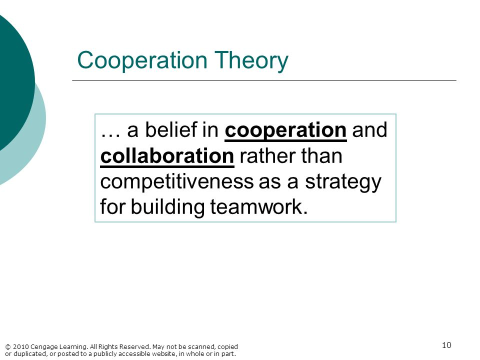 Cooperation Theory … a belief in cooperation and collaboration rather than competitiveness as a strategy for building teamwork.