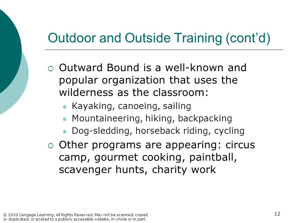 Outdoor and Outside Training (cont'd)