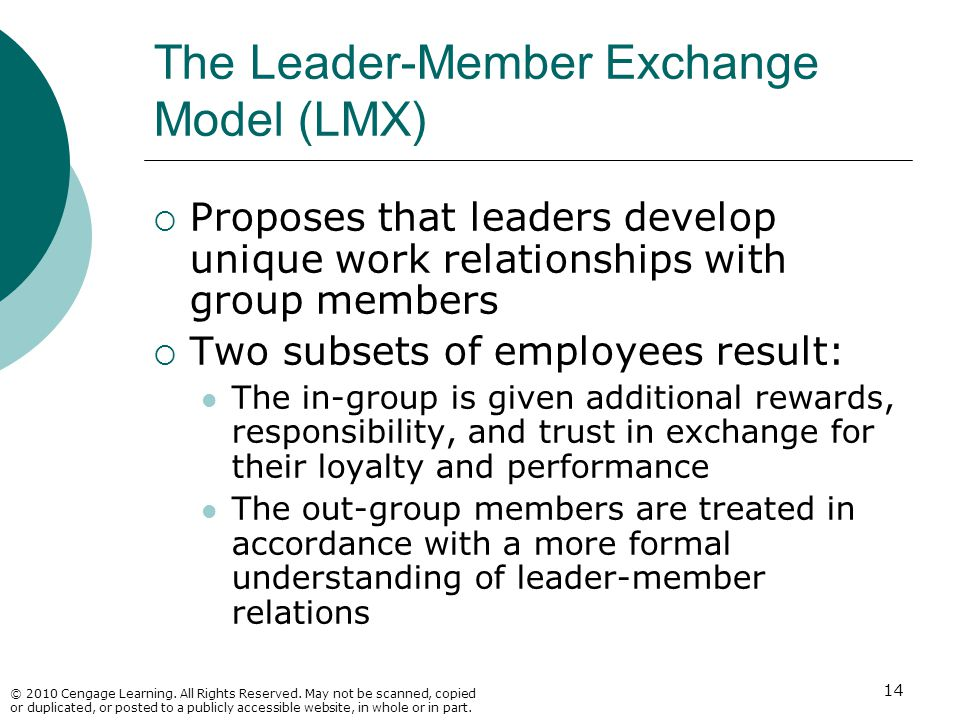 The Leader-Member Exchange Model (LMX)
