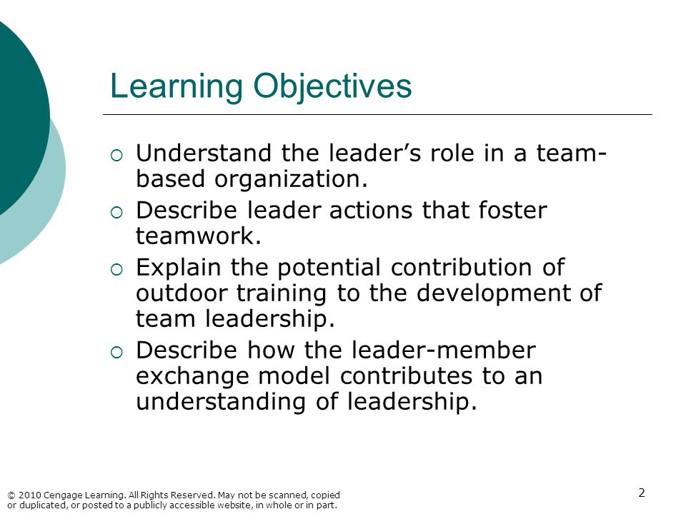 Learning Objectives Understand the leader's role in a team-based organization. Describe leader actions that foster teamwork.