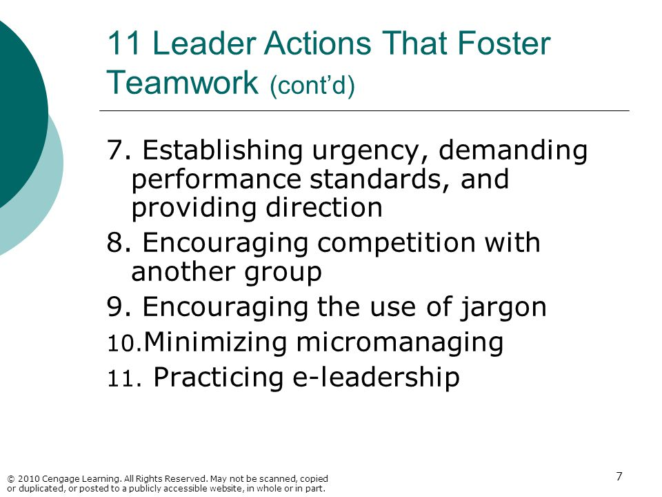 11 Leader Actions That Foster Teamwork (cont'd)
