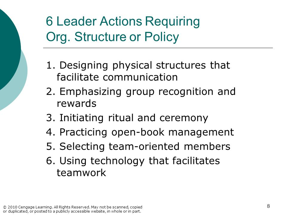 6 Leader Actions Requiring Org. Structure or Policy