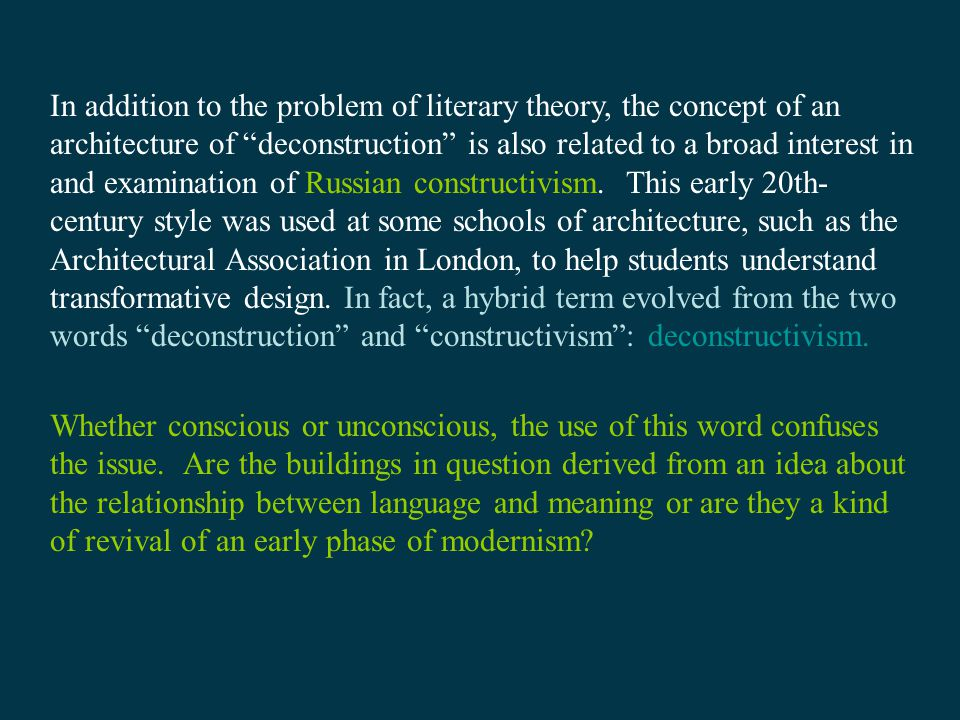 Deconstructivism in architecture ppt