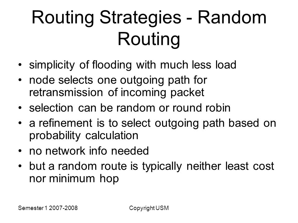 Routing Strategies - Random Routing